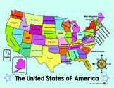 MAP of the US and COMPASS ROSE (in English)