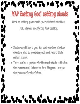 MAP testing Goal Sheets for Students