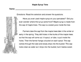 MAPLE SYRUP TIME Mini-Lesson w/ 12 questions: STEPS IN A PROCESS + SEQUENCE