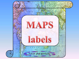 Classroom Decor - Maps - labels - Geography - Frames - Banners - Writing paper