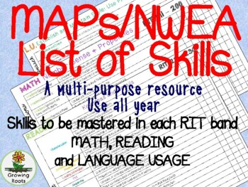 NWEA MAP skills for Math, Reading and Language RIT scores: GROWING BUNDLE