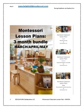 MAR APR MAY Quarterly Montessori DAILY Lesson Plan 12 weeks of curriculum