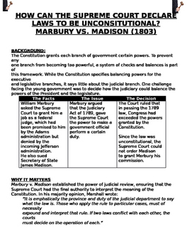 MARBURY VS. MADISON (1803) CAN THE COURT DECLARE LAWS TO B