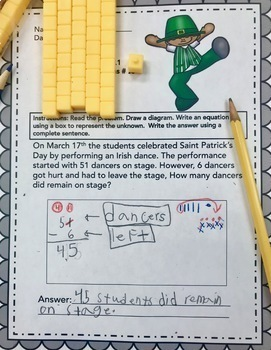 MARCH - 2ND GRADE MATH WORD PROBLEMS IN ENGLISH - CCSS 2.OA.1