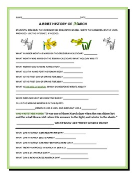 MARCH: A BRIEF HISTORY: A FILL-IN ASSIGNMENT, GRADES 3-6