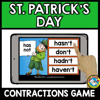 MARCH ACTIVITIES FIRST GRADE (ST PATRICKS DAY CONTRACTIONS 2ND GRADE) BOOM CARDS