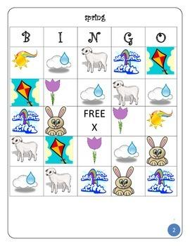 SPRING BINGO: 10 cards, bunnies, lambs, rain, sun etc..