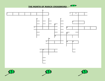 MARCH CROSSWORD PUZZLE- HAVE FUN!