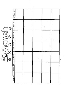 MARCH Calendar and Themed Writing Pages - FREE