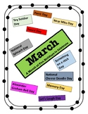 MARCH - Holiday Calendar - Every Day should be a Fun Day of Learning!