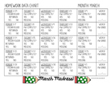 MARCH Homework Chart FREEBIE!