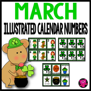 March Illustrated Calendar Numbers Set