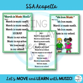 """FREEBIE : Music in Schools """"March is Music Month"""", """"We Love Music"""" SSA ACAPELLA"""