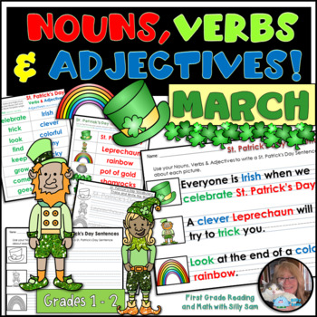 MARCH LITERACY! St. Patrick's Day Nouns, Verbs & Adjectives Activities