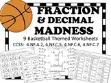 FRACTION & DECIMAL MADNESS:  Basketball Themed