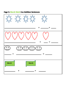 MARCH MATH FUN: ADDITION SENTENCES BUNDLE K & 1