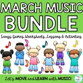March Music Lesson Bundle: Songs, Games, Worksheets, and Lessons K-6