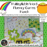 MARCH Multisyllabic Games Word Fluency Literacy Center Big Words Pack