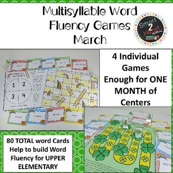 MARCH Multisyllabic Games Word Fluency Literacy Center Big Words Pack