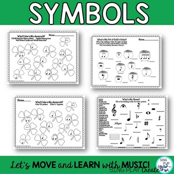 March Music Class Composing and Music Symbol Worksheets  K-6