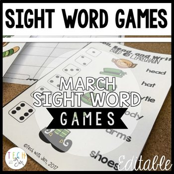 MARCH SIGHT WORD GAMES EDITABLE