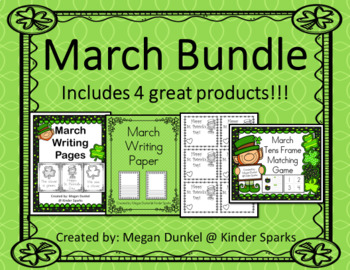 MARCH St. Patrick's Day Bundle- Math & Writing Activities Included