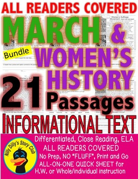 ST PATRICK'S EASTER SPRING WOMEN'S HISTORY & More CLOSE READING 5 LEVEL PASSAGES