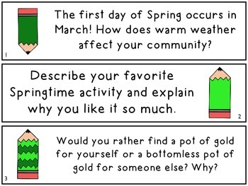 MARCH Writing Prompts (30 count) - task cards and posters *St. Patrick's Day*