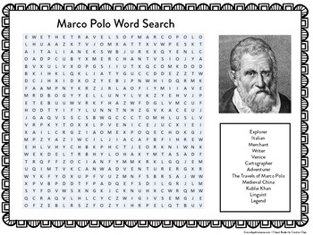 Early Explorers   Marco Polo Word Search   Explorers Worksheet