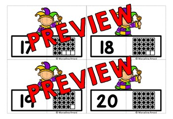 MARDI GRAS ACTIVITIES KINDERGARTEN MATH (TEN FRAMES 1-20 MATCH UP CARDS)