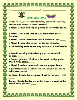 image regarding Mardi Gras Trivia Quiz Printable referred to as MARDI GRAS Recreation: TRIVIA