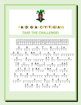MARDI GRAS CRYPTOGRAM: TAKE THE CHALLENGE! HAVE FUN!