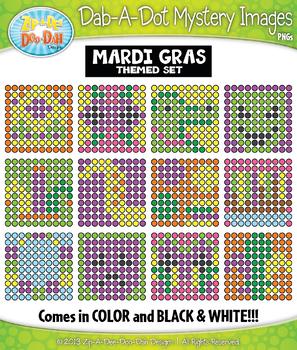 MARDI GRAS Dab-A-Dot Mystery Images Clipart {Zip-A-Dee-Doo-Dah Designs}