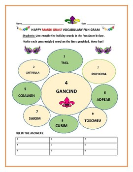MARDI GRAS FUN GRAM ACTIVITY