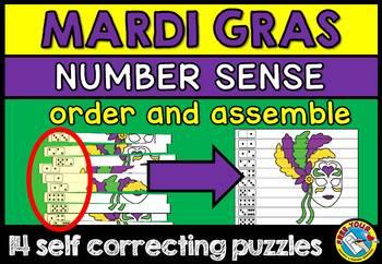 MARDI GRAS MATH CENTER KINDERGARTEN NUMBER SENSE PUZZLES (NUMBERS 1 TO 10)