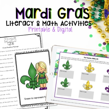 MARDI GRAS LITERACY AND MATH ACTIVITIES, PRINTABLES, MASKS, AND MORE