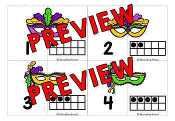 MARDI GRAS MATH ACTIVITIES KINDERGARTEN (TEN FRAMES 1-20 MATCH UP CARDS)