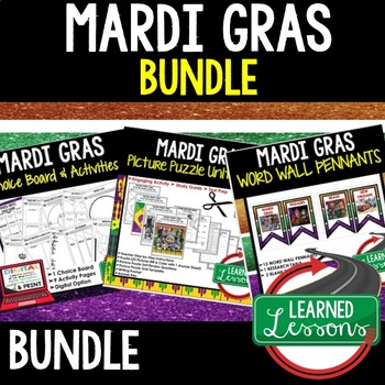 MARDI GRAS Picture Puzzle Review Activity (Louisiana History)
