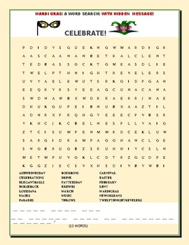 MARDI GRAS WORD SEARCH WITH HIDDEN MESSAGE: CELEBRATE!