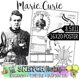 MARIE CURIE, WOMEN'S HISTORY, BIOGRAPHY, TIMELINE, SKETCHN