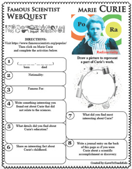 MARIE CURIE Science WebQuest Scientist Research Project Biography Notes