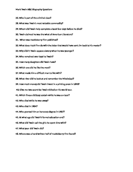 MARK TWAIN A&E BOGRAPHY comprehensive questions