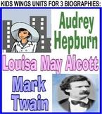 MARK TWAIN!  AUDREY HEPBURN!  LOUISA MAY ALCOTT!  3 Picture Book Biographies!