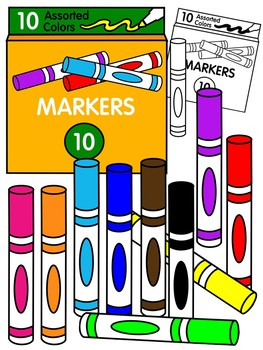 MARKER CLIPART * COLOR AND BLACK AND WHITE