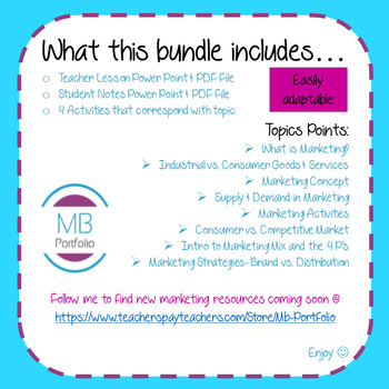 MARKETING:  Intro to Marketing BUNDLE-Marketing Terms