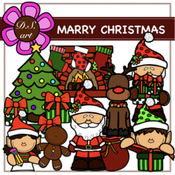 MARRY CHRISTMAS Digital Clipart (color and black&white)
