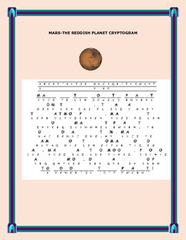 MARS, THE REDDISH PLANET- A CRYPTOGRAM