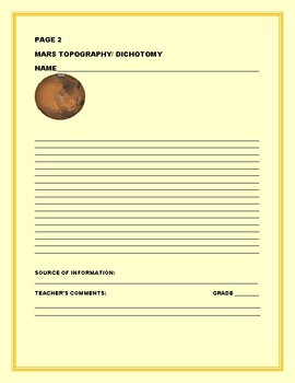 MARS: TOPGRAPHY & DICHOTOMY: SCIENCE WRITING RESEARCH PROMPT