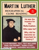 MARTIN LUTHER Biographical Close Reading with Full Text