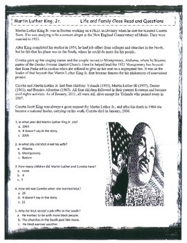 MARTIN LUTHER KING Civil Rights Black History Holiday Teaching Unit